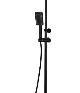 BLACK SHOWER COLUMN WITH FIXED HEAD, RISER AND FOOT WASH THERMOSTATIC