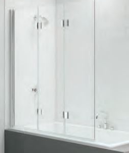 THREE PANEL FOLDING HINGED BATH SCREEN