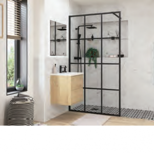 Wetroom Panel Black Framed